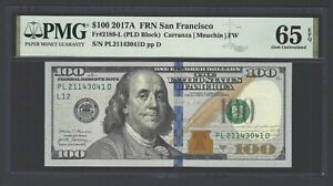 United State -Federal Reserve Note 100 Dollars 2017A F2189-B(PLD Block) Grade 65