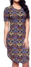 Plus Sz Tribal Aztec African Print Ankara Jersey T-Shirt hi-Lo Midi Dress 3XL