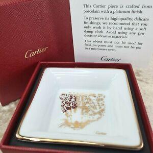 Authentic Cartier Porcelain Decorative Plate Mini Tray Novelty PANTHERE 8 x 8 cm