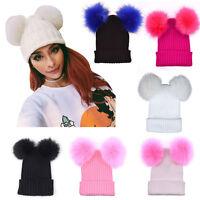 femmes hiver chaud Chapeaux crochet tricoté Boules de poils BONNET SKI casquette
