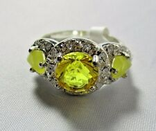 Ring Rare Yellow Topaz Cubic Zirconia with Gem Stone Accents Size 6.5 NWT T35