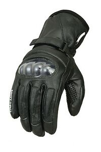 MOTERO Thermal Waterproof Carbon Knuckle Winter Motorcycle Leather Gloves