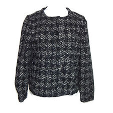J. CREW Collection Gray Black Tweed Houndstooth Snap Front Wool Jacket Sz - 8