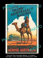 POSTCARD SIZE ADVERTISING POSTER TRANS AUSTRALIAN RAILWAY ACROSS AUST c1940