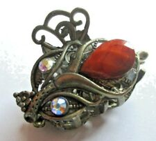 pince à cheveux attache foulard bijou accessoire vintage bronze cristaux 5183