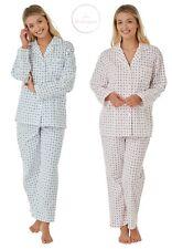Ladies Warm Luxury 100% Brushed Cotton Wincyette Pyjama Set Pink/Blue by Marlon