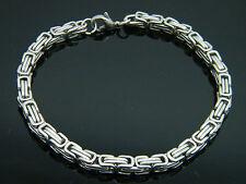 Para hombres Para mujeres De Grueso Cadena de eslabones bizantina Pulsera De Acero Inoxidable De Plata