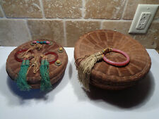 Antique Lot of 2 Wicker Woven SEWING BASKETS with LIDS Fringe Plastic Rings