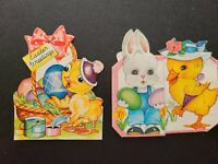 2 Vtg Easter Greeting Cards Diecut Duck Chick Bunny lot 1940s