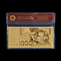 WR 1000 DM Gold Deutsche Mark Banknoten 1991 Altes Design Gold Geldschein