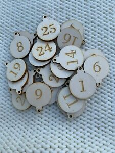 25 number buttons reusable baubles  various sizes advent calendar Christmas TAGS