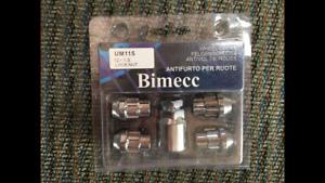 BIMECC LOCKING WHEEL NUT SET NOS / 12 X 1.5 / UM115 / CHROME FINISH / LOCK