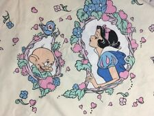 Snow White Twin Flat Bed Sheet Pillow Case VTG Disney Cream Blue Dopey