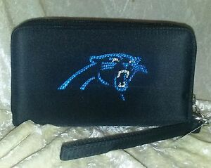 Carolina Panthers NFL Cell Phone Wallet Rhinestone Bling NFL Licensed!