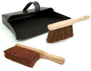 Large Strong Metal Dustpan and Brush Set Soft & Stiff Wooden Brush Black Ash Pan