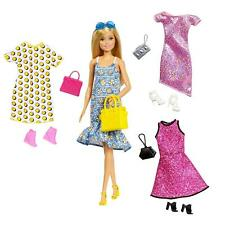 Barbie Doll Floral Dress Yellow Bag with Clothes and Accessories GDJ40