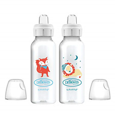 Dr. Browns Options+ Sippy Spout Baby Bottles, Fox & Lion, 8 Ounce, 2 Count