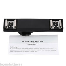 Dual Hot Shoe Flash Speedlite Light Bracket Splitter for Nikon Cam & Microphone
