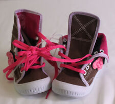 "NEW CHULA BABY GIRL sz 2 HIGH TOP BROWN PINK BUTTERFLY 5.5"" BOTTOM LACE UP SHOES"
