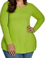 Ashley Stewart Womens Tunic Top Green Long Sleeve Ribbed Stretch Shirt Sz 22/24