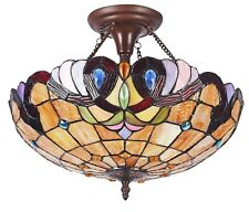 "Semi Flush 16"" Ceiling Tiffany Style Stained Glass Fixture With 2 Lights"