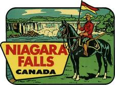 #666 (1) Niagra Falls Canada Luggage Label Travel Decal Sticker Repro 50's