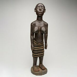 A291 - STATUE BAOULE ANCIENNE, FEMME, CIRCA 1973, ART TRIBAL PREMIER AFRICAIN