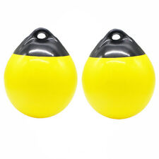 2 Boat Fender Ball Anchor Yellow Inflatable Vinyl Shield Protection Buoy Round