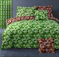 Pixel Squares Bedding Set Duvet Cover & Pillowcases Modern Check Green Brown