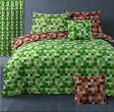 Pixel Squares Bedding Set Duvet Cover & Pillowcases Reversible Check Green Brown