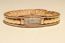 "RECTANGULAR SWISS LADIES GOLD PLATED QUARTZ WATCH ""APPELLA"" GENEVE WITH STONES"