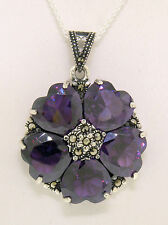 Marcasite Sterling Silver Amethyst Heart Cluster Round Flower Pendant w/ Chain