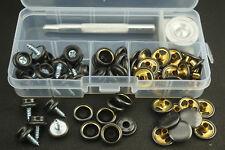 Tarp Repair Kit + Grommets - Eyelet punch set Tarpaulin Awning Set Black 62pcs