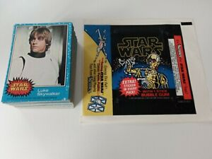 STAR WARS TRADING CARDS 1977 BLUE SET + WAX WRAPPER