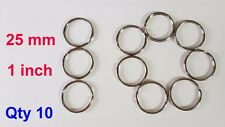 10x 25mm Split Ring keyring Strong shiny silver nickel metal loop key rings