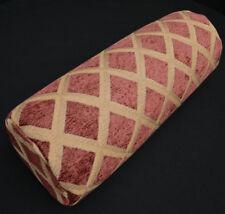 we602g Reddish Brown Check Chenille Bolster Pillow Case Yoga Neck Roll Cover