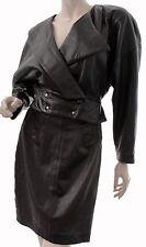 Michael Hoban North Beach Black Leather Jacket & Skirt Set 2pc Sz 3/4 80s