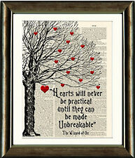 OLD ANTIQUE DICTIONARY PAGE ART PRINT Wizard of Oz Hearts Tree Wall Art