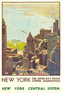 VINTAGE NEW YORK MANHATTAN TRAVEL A3 POSTER PRINT