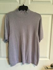 Korea, Woman's 1x, Sweater, Lavender & Silver, Zips In Back, Short Sleeve