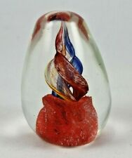 Vintage Hand Blown Glass Paperweight Beautiful Red Blue Yellow Swirl Tear Drop