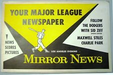 1958 or '59 Mirror News Advertising Sign: Los Angeles Dodgers