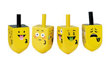 4 Painted Wood Dreidels with Emojis - Chanukkah Hanukkah Chanukah Dreidel