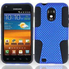 Samsung Galaxy S2 Epic 4G Touch D710 Sprint - HARD & SOFT RUBBER CASE BLUE MESH