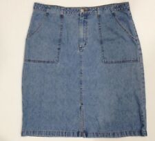 Covington Jean SKIRT Sz 18 Below Knee stone-washed blue denim