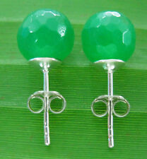 """100% REAL 925 sterling silver 8mm Faceted Green """"REAL JADE"""" studs earrings WOMEN"""