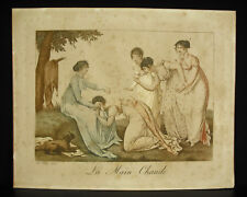 Jean-François BOSIO (1764-1827) gravure couleur c1800 jeu de la main chaude
