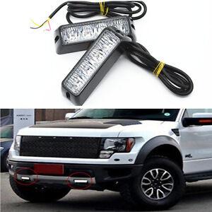 2Pcs White Car Driving LED Car SUV Flashing Width Light Turn Signal Lamp Bar