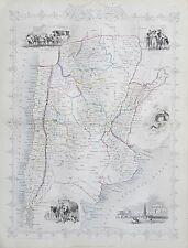 c1854 CHILI & LA PLATA CHILE Genuine Antique Map by Rapkin