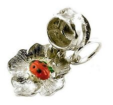 STERLING SILVER OPENING LADYBIRD IN ROSE CHARM